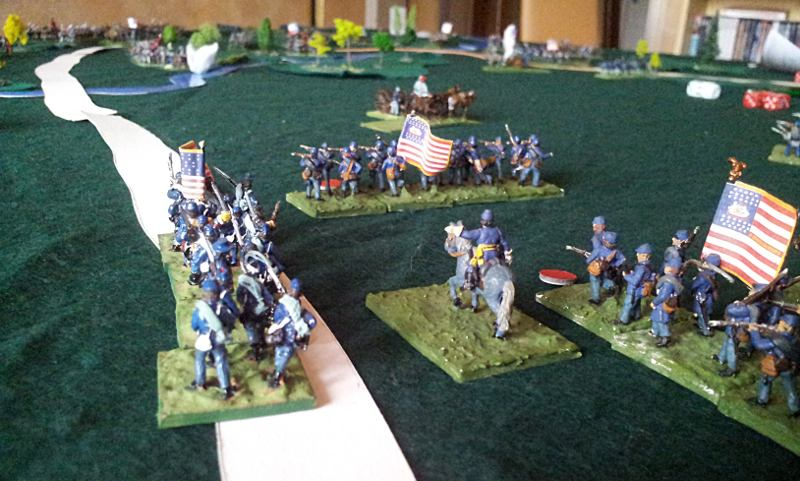 wargame Figurines 15mm,  guerre de secession. Richardson progresse.