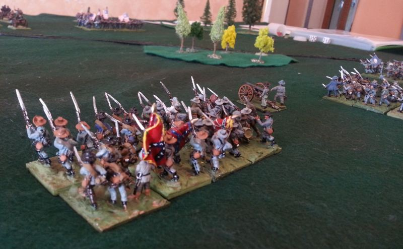 15mm CSA minis advancing, Longstreet Lite rules