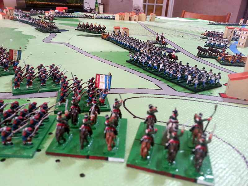 ( the french pushed, and the austrians slowly recoiled )
