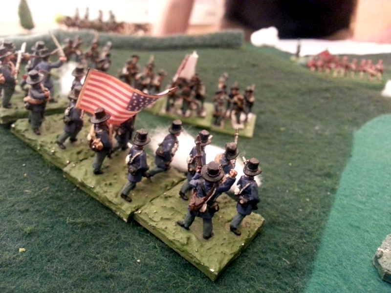 ( The Union fought bravely, holding the southern men on my right )