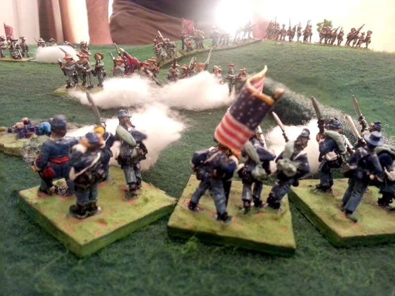 ( Shots from everywhere, my regiment fall back )