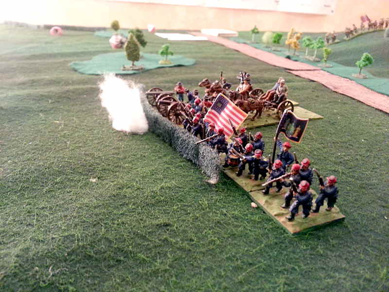 ( No ! An artillery battery rushed accross the road and deployed, seconded woth the zouaves from New York ! )