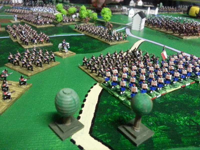 ( The prussian infantry finally ran trough the woods, to met the first french )