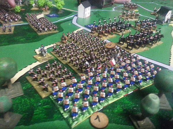 ( A little on the right, the prussians slowly advanced, the french stand )
