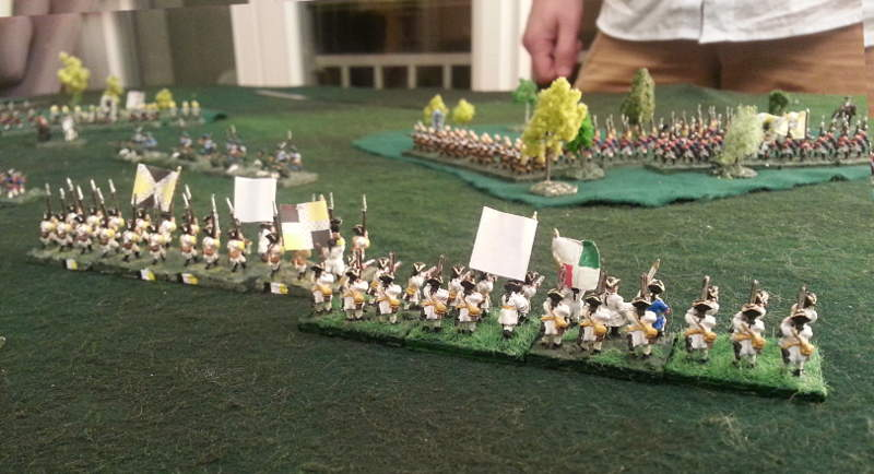 ( French lines came, while the light infantry retreated )