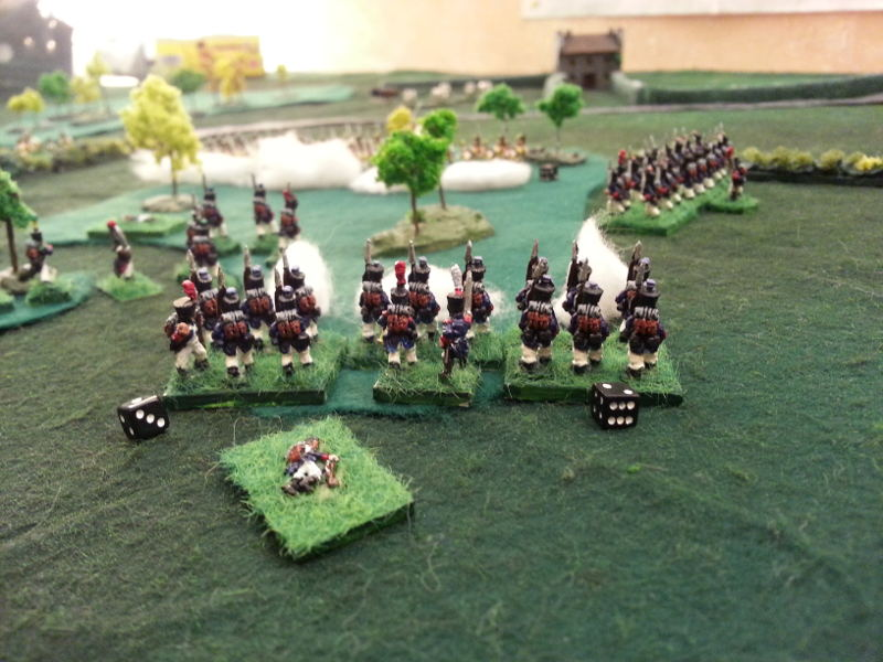 ( the main firefight. French Line stopped and then repulsed the Austrians. )