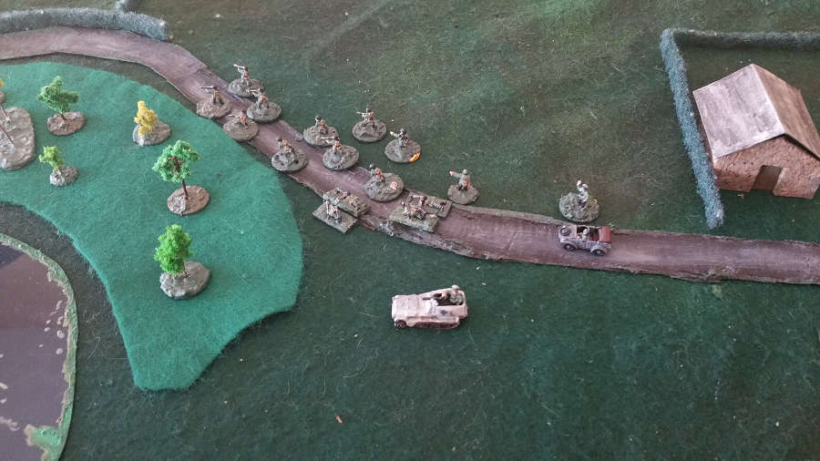 ( The german main forces took position in the woods )