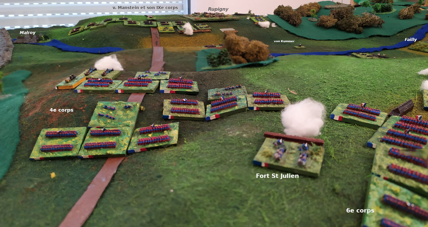 ( An artillery duel took place. seen from the french point of view above)