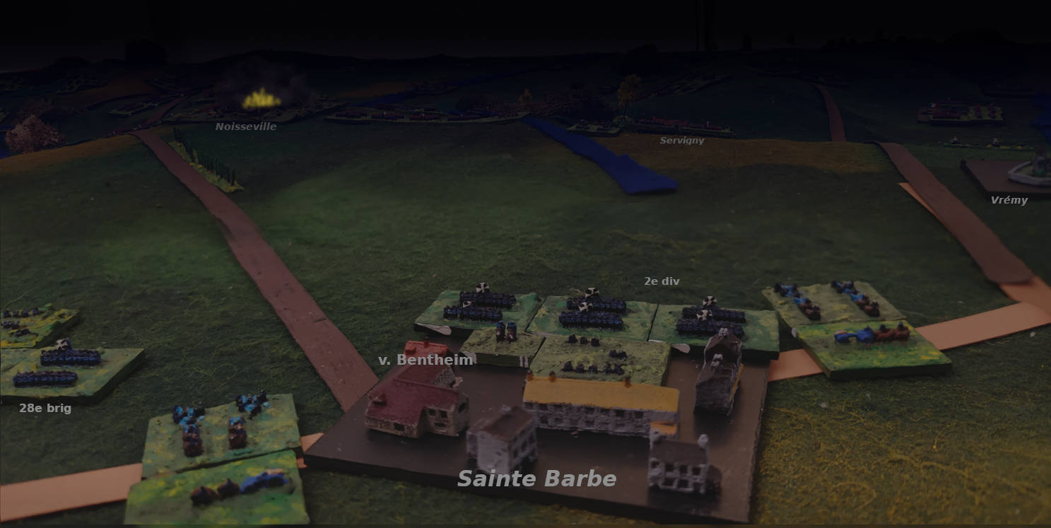 ( The night fall, seen from Sainte Barbe. Noisseville is still burning )